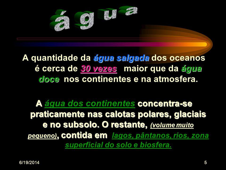 6/19/201455 pH •As comunidades alteram o pH da água, bem como o pH interfere de diferentes maneiras no metabolismo destas comunidades •Assimilação do CO2, (fotossíntese), pelos seres autótrofos, (macrófitas aquáticas - algas - cianobactérias), podem elevar o pH do meio •Esse consumo de CO2 é compensado pela dissociação do bicarbonato de cálcio, reduzindo as variações de pH Atenção: Essa compensação não ocorre em casos de floração de algas ou crescimento de densas comunidades de macrófitas submersas