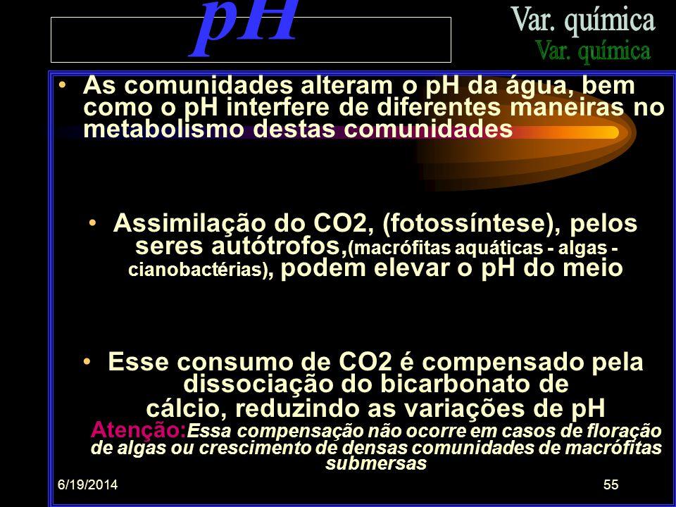 6/19/201454 NEUTRO  + ácido  + básico  Na verdade a maior neutralidade ocorre em pH, em torno de 8,2, (7,9 - 8,4) quando tem-se maior concentração