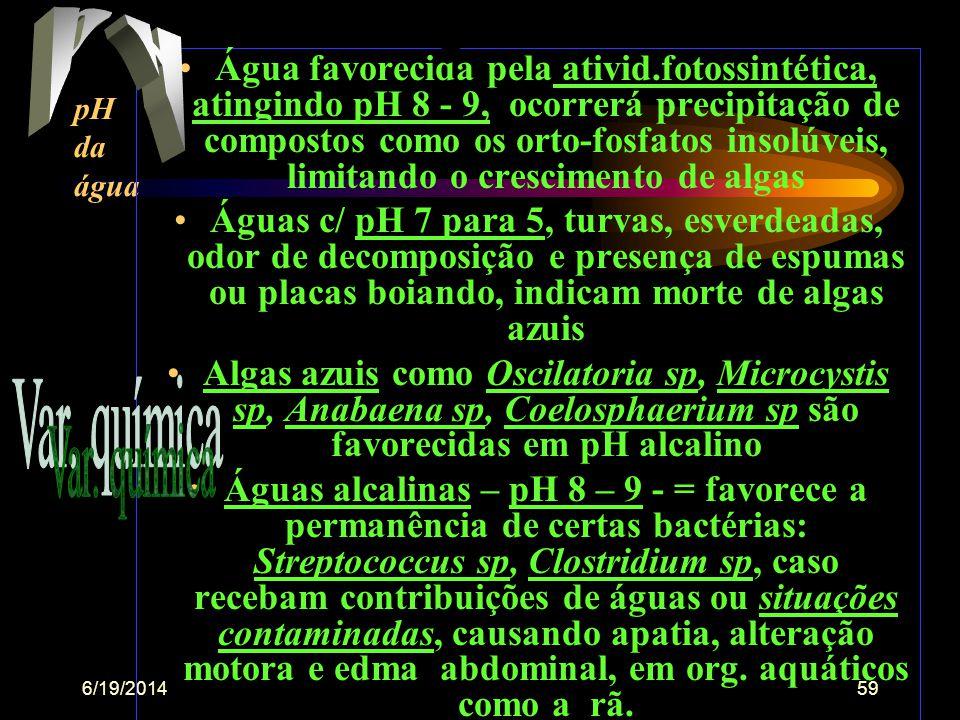 6/19/201458 •Água doce orgânica menor de 5,0 UpH •Água estuarina de 6,0 a 8,0 UpH •Água natural (tende p/ alcalina de 5,0 a 8,0 UpH • Águas ferruginos