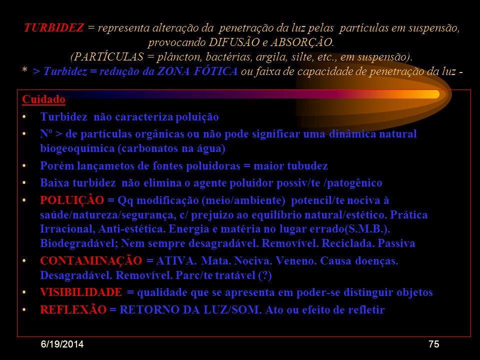 6/19/201474... •resultante da presença de partículas orgânicas e/ou inorgânicas em suspensão •é o inverso da transparência •interfere na penetração do
