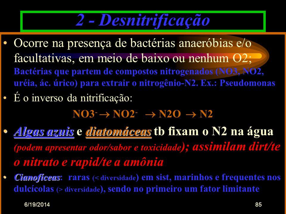 6/19/201484 N •  ºC : > poder tóxico da amônia (sinergismo) •Nitrificaçãosó acima de 5ºC e abaixo de 45 ºC •Nitrificação = só acima de 5ºC e abaixo