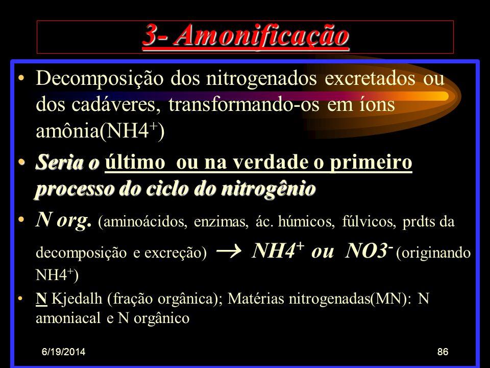 6/19/201485 2 - Desnitrificação •Ocorre na presença de bactérias anaeróbias e/o facultativas, em meio de baixo ou nenhum O2; Bactérias que partem de c