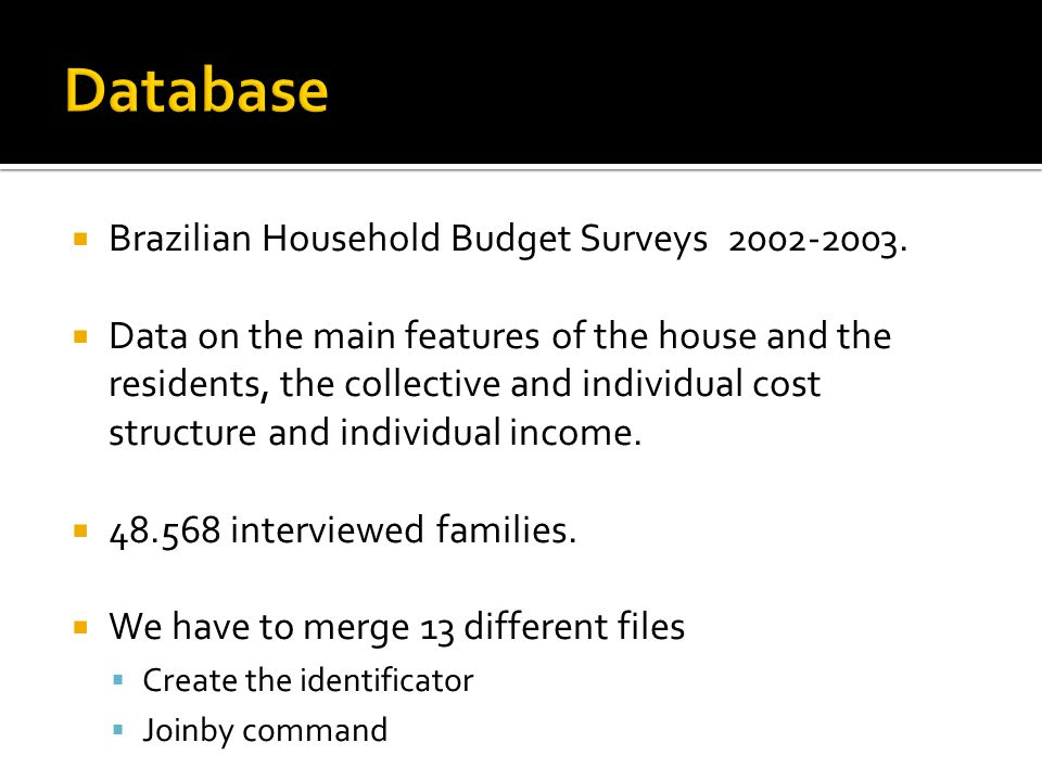  Brazilian Household Budget Surveys 2002-2003.  Data on the main features of the house and the residents, the collective and individual cost structu