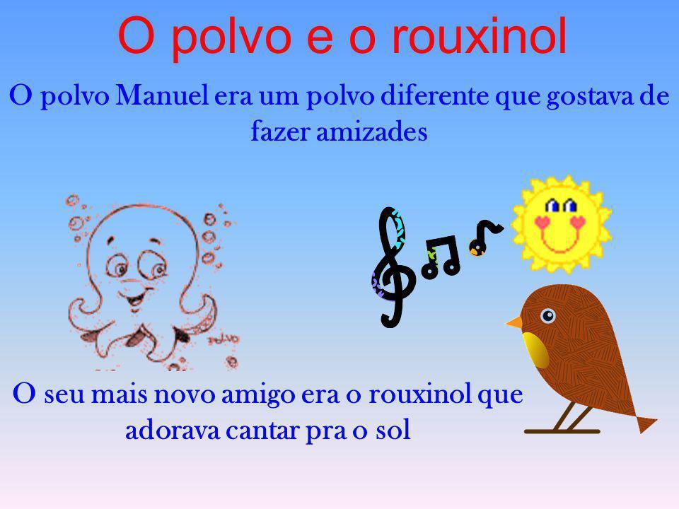 O polvo e o rouxinol O polvo Manuel era um polvo diferente que gostava de fazer amizades O seu mais novo amigo era o rouxinol que adorava cantar pra o