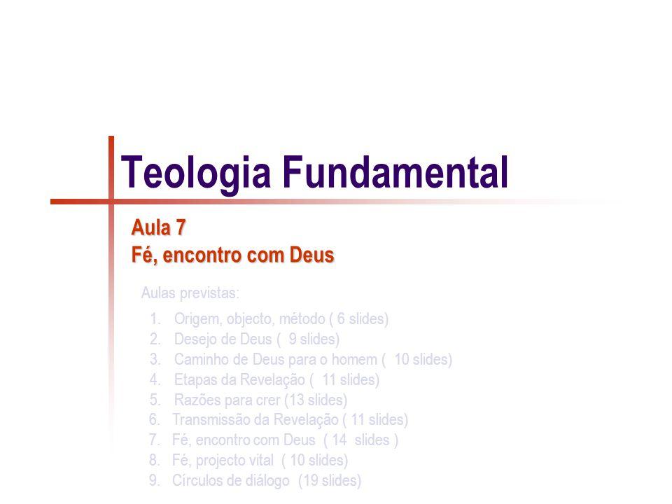 1.Origem, objecto, método ( 6 slides) 2.Desejo de Deus ( 9 slides) 3.Caminho de Deus para o homem ( 10 slides) 4.Etapas da Revelação ( 11 slides) 5.Razões para crer (13 slides) 6.