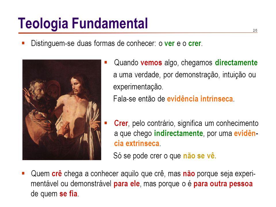 2/6 Teologia Fundamental  Quando vemos algo, chegamos directamente a uma verdade, por demonstração, intuição ou experimentação.