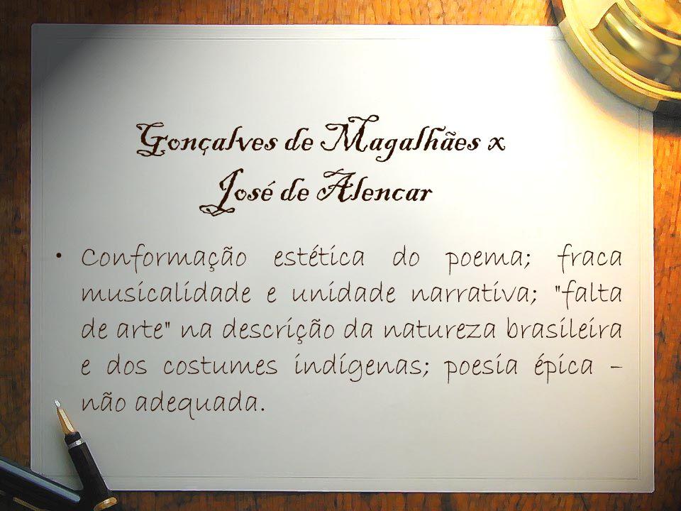Gonçalves de Magalhães x José de Alencar •Conformação estética do poema; fraca musicalidade e unidade narrativa;