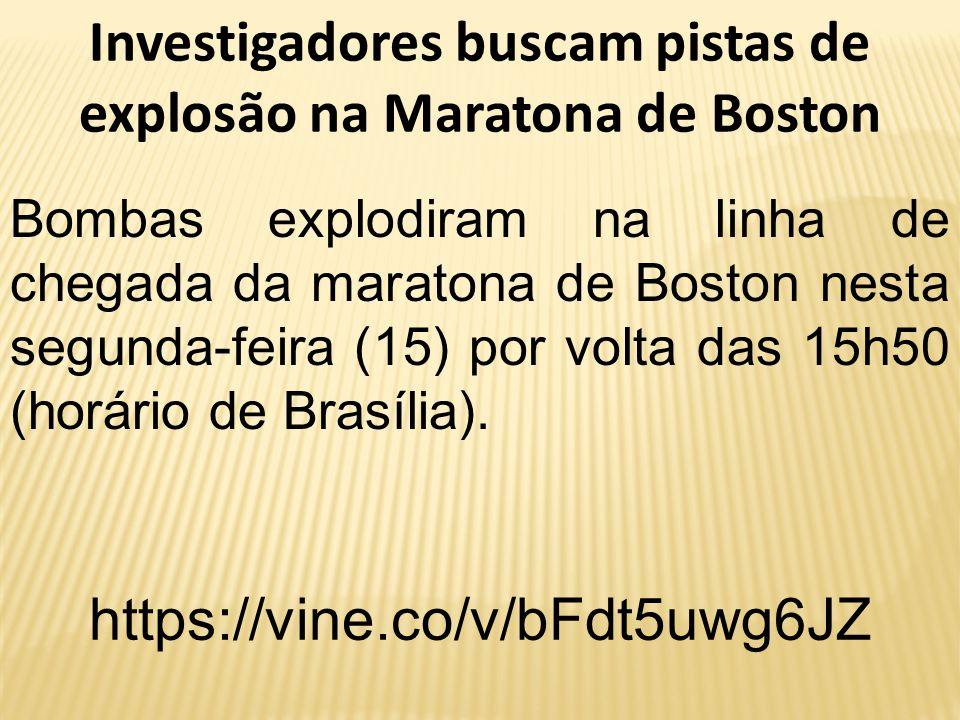Investigadores buscam pistas de explosão na Maratona de Boston Bombas explodiram na linha de chegada da maratona de Boston nesta segunda-feira (15) po