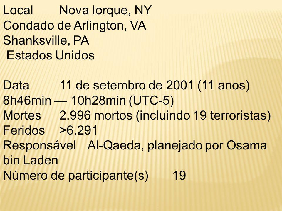 Local Nova Iorque, NY Condado de Arlington, VA Shanksville, PA Estados Unidos Data 11 de setembro de 2001 (11 anos) 8h46min — 10h28min (UTC-5) Mortes