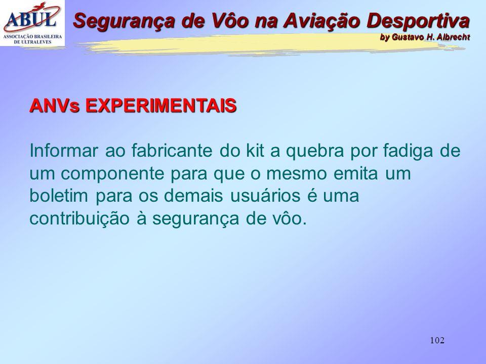 101 ANVs EXPERIMENTAIS Não são submetidas aos testes de fadiga, da í não sabermos qual é o limite de horas dos seus componentes. A inspeção periódica