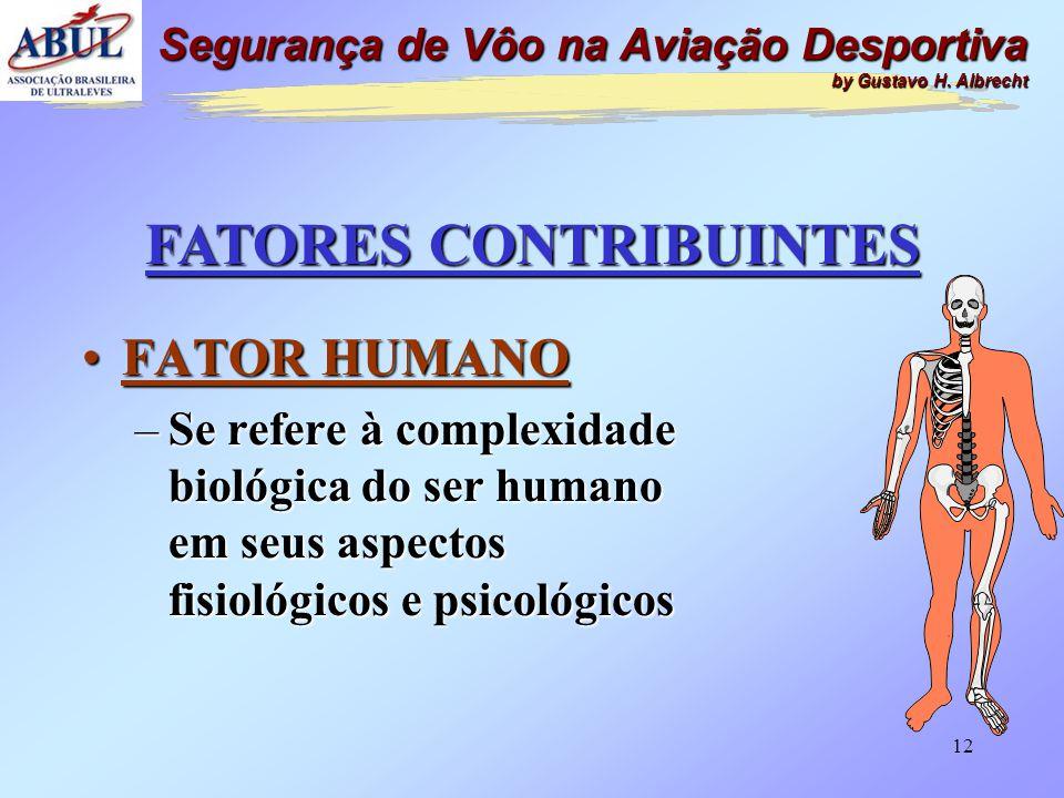 11 FATORES CONTRIBUINTES •FATOR HUMANO •FATOR MATERIAL •FATOR OPERACIONAL Segurança de Vôo na Aviação Desportiva by Gustavo H. Albrecht