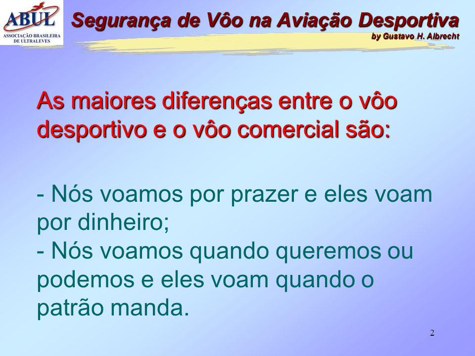 2 As maiores diferenças entre o vôo desportivo e o vôo comercial são: - Nós voamos por prazer e eles voam por dinheiro; - Nós voamos quando queremos ou podemos e eles voam quando o patrão manda.