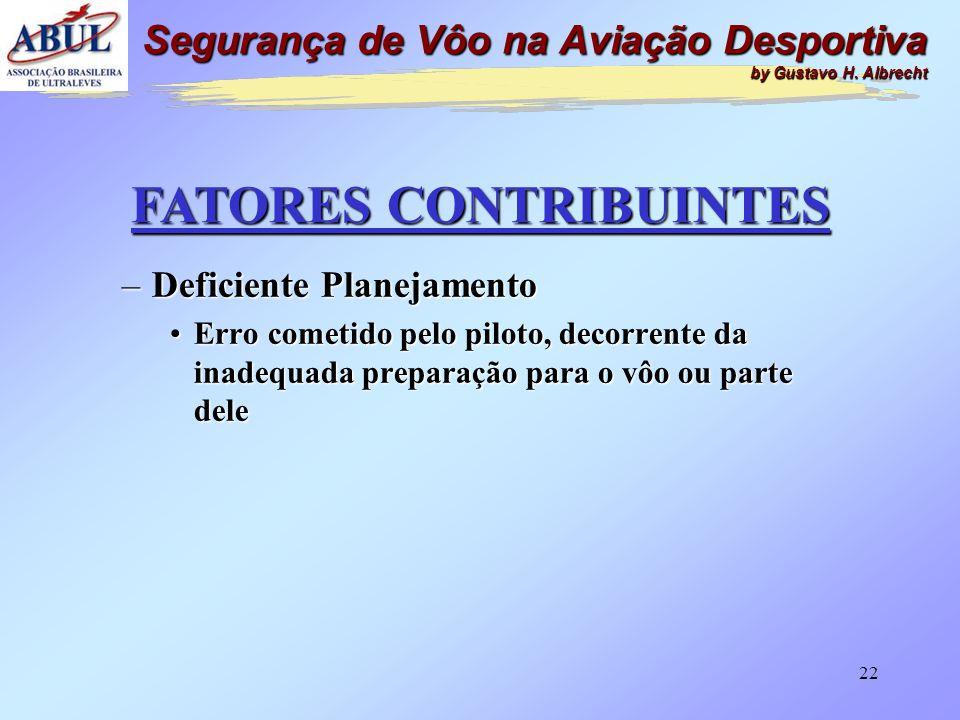 21 FATORES CONTRIBUINTES –Deficiente Controle de Tráfego Aéreo •Participação por inadequação da prestação desse serviço Segurança de Vôo na Aviação De