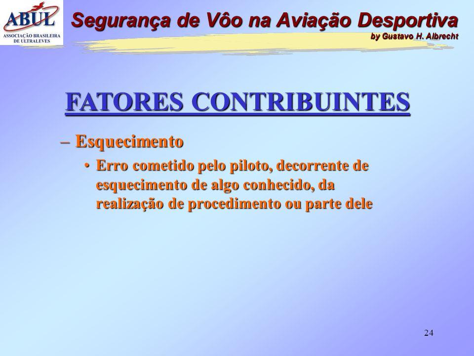 23 FATORES CONTRIBUINTES –Pouca Experiência de Vôo •Erro cometido pelo piloto, decorrente de pouca experiência na atividade aérea, na aeronave ou simp