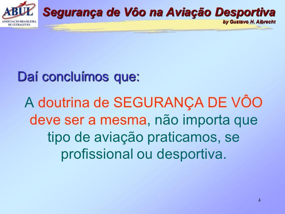 4 Daí concluímos que: A doutrina de SEGURANÇA DE VÔO deve ser a mesma, não importa que tipo de aviação praticamos, se profissional ou desportiva.