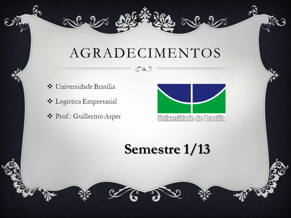 AGRADECIMENTOS  Universidade Brasília  Logística Empresarial  Prof.: Guillermo Asper Semestre 1/13