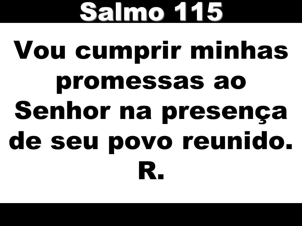 Vou cumprir minhas promessas ao Senhor na presença de seu povo reunido. R. Salmo 115