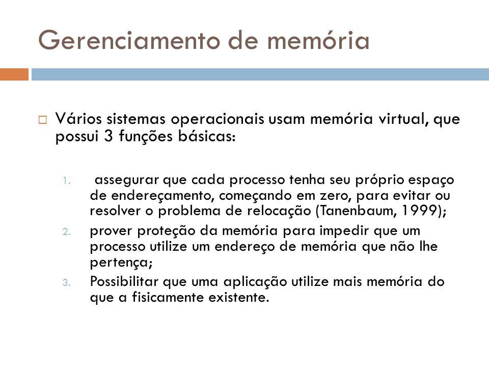 Gerenciamento de memória  Vários sistemas operacionais usam memória virtual, que possui 3 funções básicas: 1. assegurar que cada processo tenha seu p