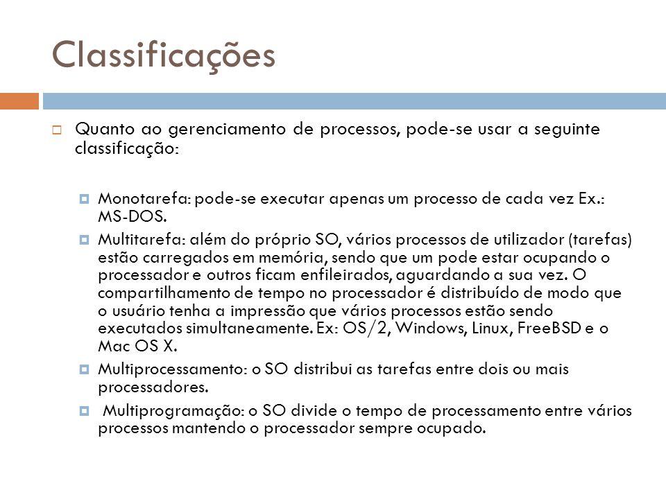 Classificações  Quanto ao gerenciamento de processos, pode-se usar a seguinte classificação:  Monotarefa: pode-se executar apenas um processo de cada vez Ex.: MS-DOS.