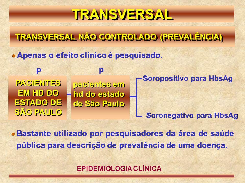 TRANSVERSAL TRANSVERSAL NÃO CONTROLADO (PREVALÊNCIA) PACIENTES EM HD DO ESTADO DE SÃO PAULO P p Soropositivo para HbsAg  Apenas o efeito clínico é pe