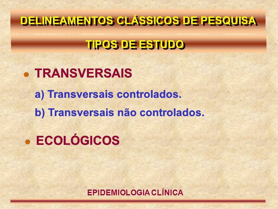 TRANSVERSAL TRANSVERSAL NÃO CONTROLADO (PREVALÊNCIA) PACIENTES EM HD DO ESTADO DE SÃO PAULO P p Soropositivo para HbsAg  Apenas o efeito clínico é pesquisado.