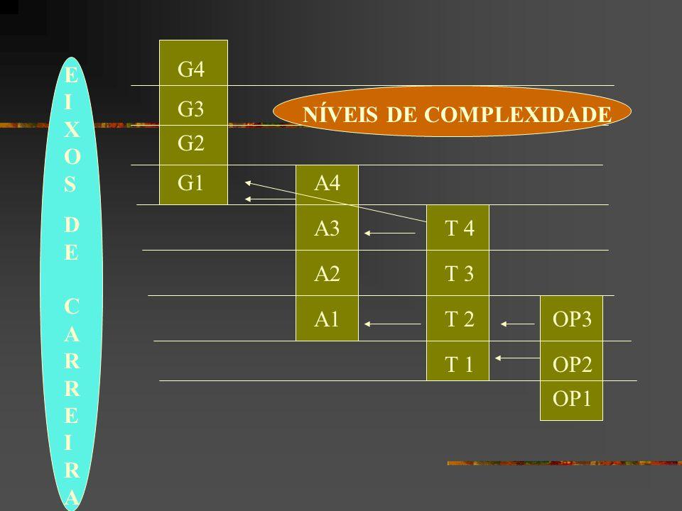 NÍVEIS DE COMPLEXIDADE EIXOSDE CARREIRAEIXOSDE CARREIRA G3 G2 G1 G4 A1 A2 A3 A4 OP1 OP3 T 1 T 2 T 3 T 4 OP2