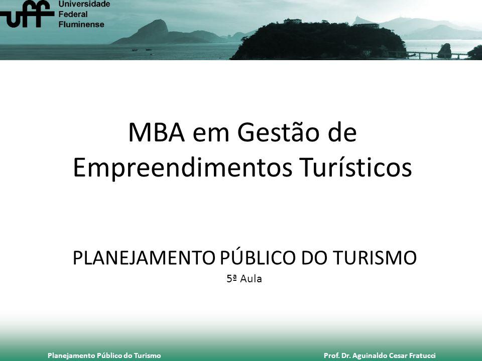 Planejamento Público do Turismo Prof. Dr. Aguinaldo Cesar Fratucci MBA em Gestão de Empreendimentos Turísticos PLANEJAMENTO PÚBLICO DO TURISMO 5ª Aula