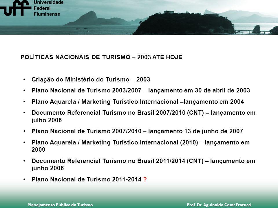 Planejamento Público do Turismo Prof. Dr. Aguinaldo Cesar Fratucci POLÍTICAS NACIONAIS DE TURISMO – 2003 ATÉ HOJE •Criação do Ministério do Turismo –