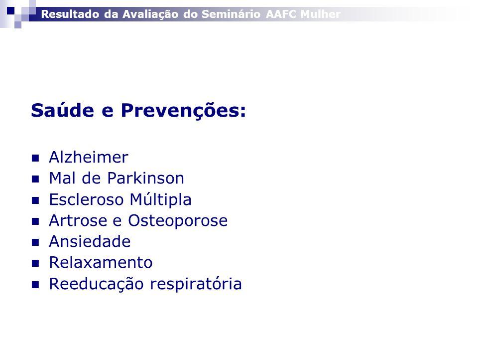 Saúde e Prevenções:  Alzheimer  Mal de Parkinson  Escleroso Múltipla  Artrose e Osteoporose  Ansiedade  Relaxamento  Reeducação respiratória Resultado da Avaliação do Seminário AAFC Mulher