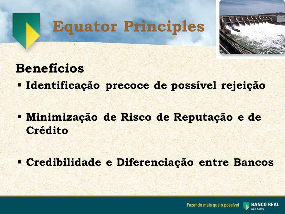 Benefícios  Identificação precoce de possível rejeição  Minimização de Risco de Reputação e de Crédito  Credibilidade e Diferenciação entre Bancos