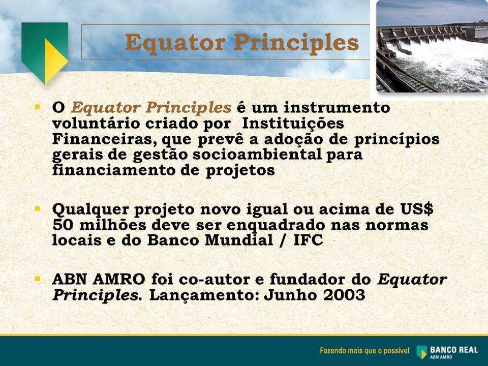  O Equator Principles é um instrumento voluntário criado por Instituições Financeiras, que prevê a adoção de princípios gerais de gestão socioambient