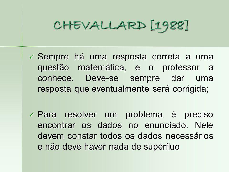 CHEVALLARD [1988]  Sempre há uma resposta correta a uma questão matemática, e o professor a conhece. Deve-se sempre dar uma resposta que eventualment