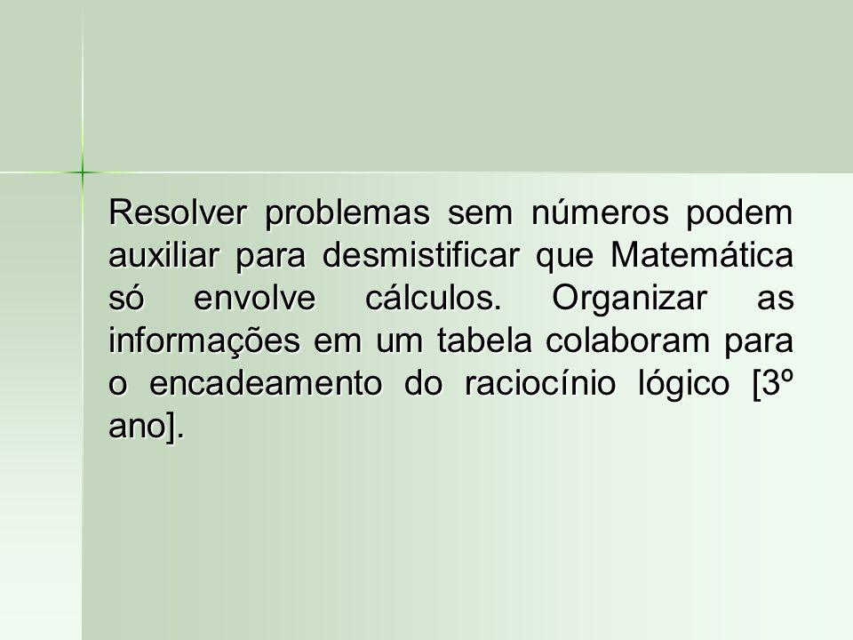 Resolver problemas sem números podem auxiliar para desmistificar que Matemática só envolve cálculos. Organizar as informações em um tabela colaboram p