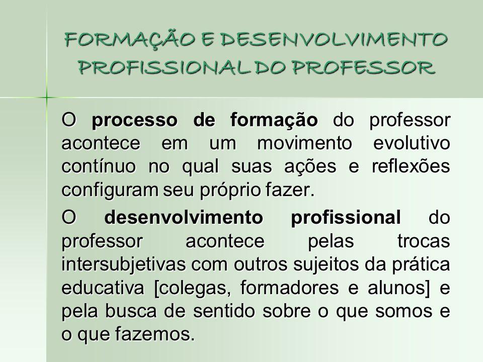 FORMAÇÃO E DESENVOLVIMENTO PROFISSIONAL DO PROFESSOR O processo de formação do professor acontece em um movimento evolutivo contínuo no qual suas açõe