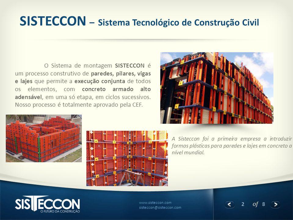 2 of 8 www.sisteccon.com sisteccon@sisteccon.com SISTECCON – Sistema Tecnológico de Construção Civil O Sistema de montagem SISTECCON é um processo con