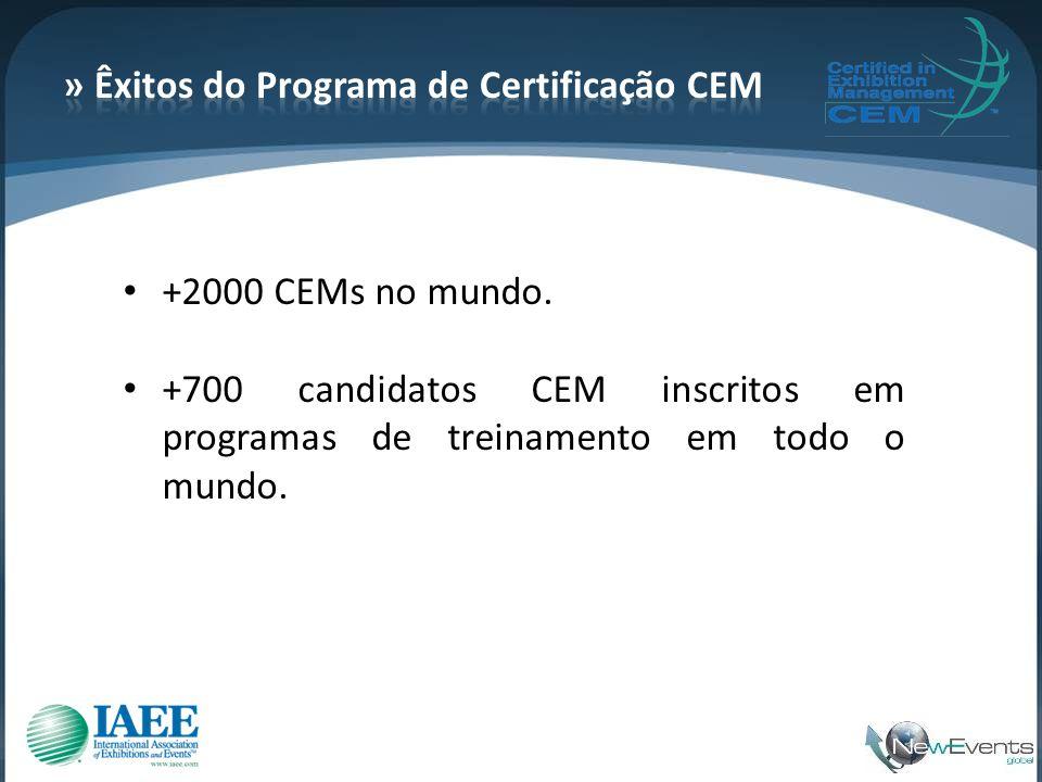 • +2000 CEMs no mundo. • +700 candidatos CEM inscritos em programas de treinamento em todo o mundo.
