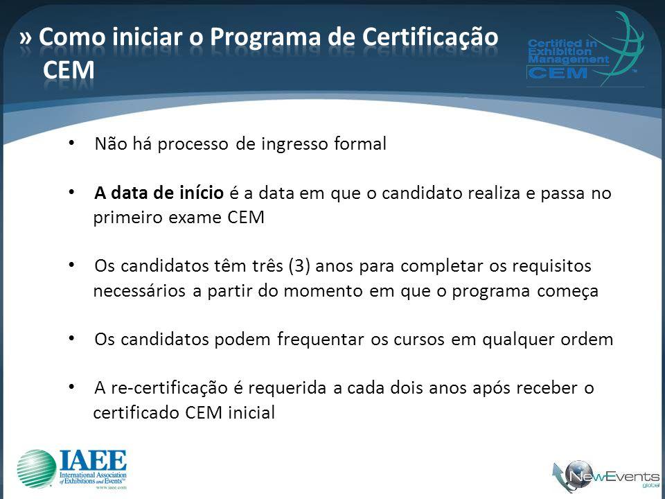 • Não há processo de ingresso formal • A data de início é a data em que o candidato realiza e passa no primeiro exame CEM • Os candidatos têm três (3)