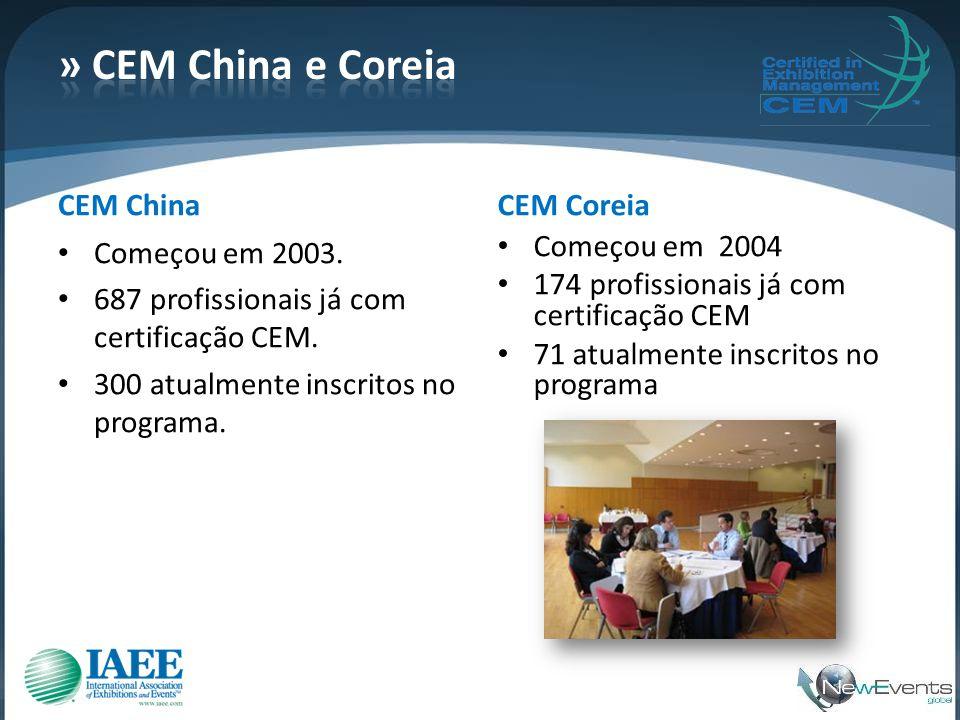 CEM China • Começou em 2003. • 687 profissionais já com certificação CEM. • 300 atualmente inscritos no programa. CEM Coreia • Começou em 2004 • 174 p