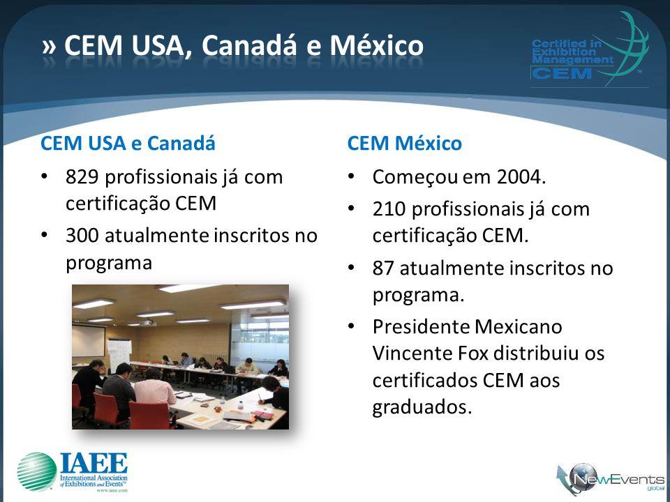 CEM USA e Canadá • 829 profissionais já com certificação CEM • 300 atualmente inscritos no programa CEM México • Começou em 2004. • 210 profissionais