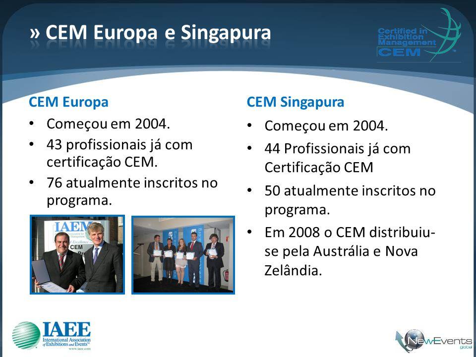 CEM Europa • Começou em 2004. • 43 profissionais já com certificação CEM. • 76 atualmente inscritos no programa. CEM Singapura • Começou em 2004. • 44