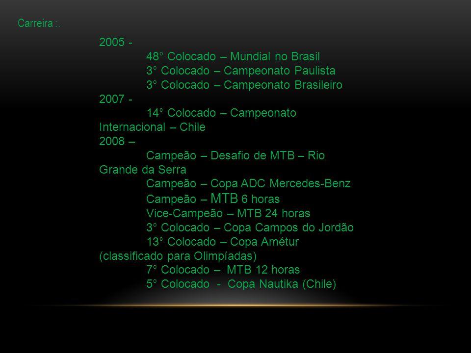 7° colocado 12 horas 2011 2° colocado copa MTB no Chile 2011 7° colocado categoria solo MTB 12 horas 2012 2009 – 4° Colocado – MTB 24 horas (eleito melhor atleta do ano no 24 horas) Campeão Largada Lê Mans – MTB 12 horas 2° Colocado - Sulbrasils – Etapa Florianópolis (quarteto misto) 2010 – 7° Colocado – Big Biker – 1 Etapa 17° Colocado – Big Biker – 2 Etapa 8° Colocado – Big Biker – 3 Etapa Campeão – Etapa de montanha – Jogos regionais 2 Circuito montanhês de ciclismo 2010 4° Colocado