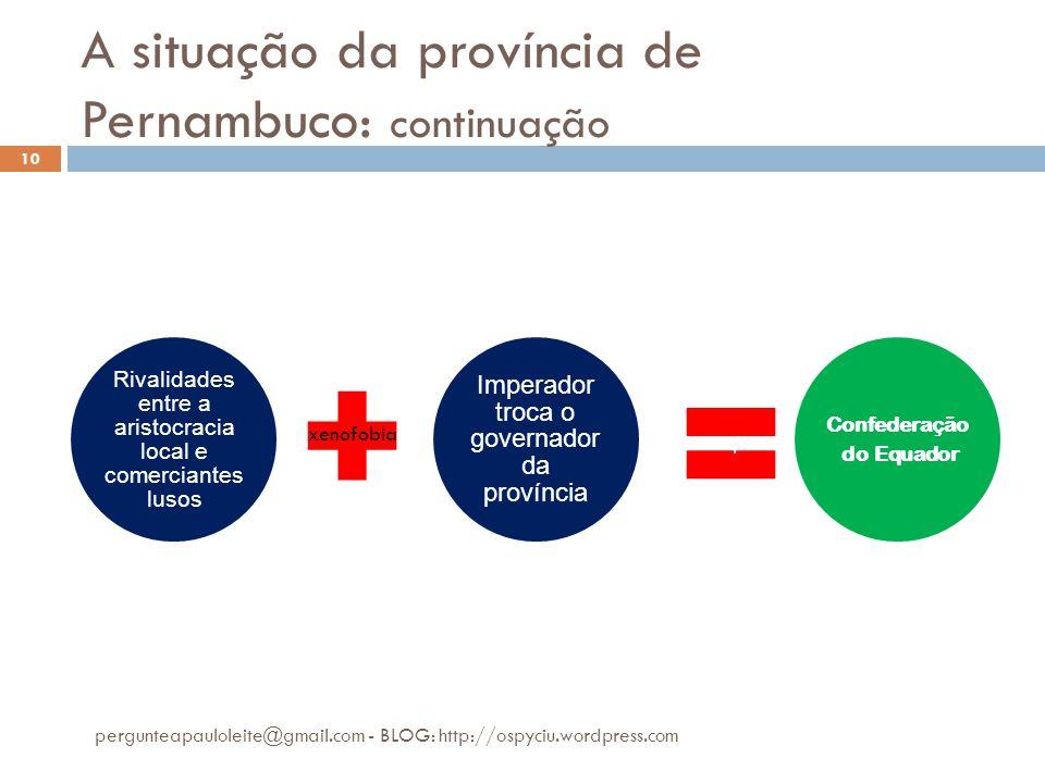 A situação da província de Pernambuco: continuação pergunteapauloleite@gmail.com - BLOG: http://ospyciu.wordpress.com 10 Rivalidades entre a aristocra
