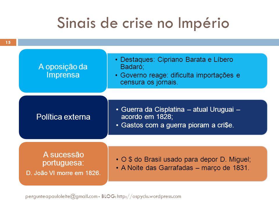 Sinais de crise no Império pergunteapauloleite@gmail.com - BLOG: http://ospyciu.wordpress.com 15 •Destaques: Cipriano Barata e Líbero Badaró; •Governo