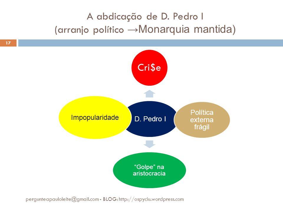 A abdicação de D. Pedro I (arranjo político →Monarquia mantida) pergunteapauloleite@gmail.com - BLOG: http://ospyciu.wordpress.com 17 D. Pedro I Cri$e