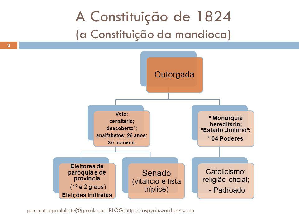 A Constituição de 1824 (a Constituição da mandioca) pergunteapauloleite@gmail.com - BLOG: http://ospyciu.wordpress.com 3 Outorgada Voto: censitário; d