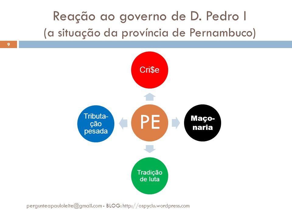 Reação ao governo de D. Pedro I (a situação da província de Pernambuco) pergunteapauloleite@gmail.com - BLOG: http://ospyciu.wordpress.com 9 PE Cri$e