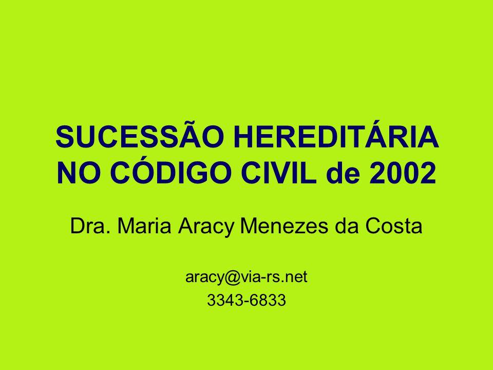 SUCESSÃO HEREDITÁRIA NO CÓDIGO CIVIL de 2002 Dra. Maria Aracy Menezes da Costa aracy@via-rs.net 3343-6833