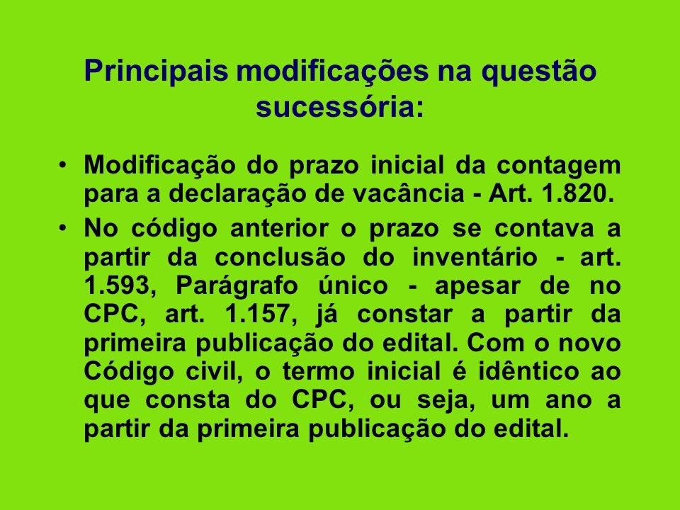 Principais modificações na questão sucessória: •Modificação do prazo inicial da contagem para a declaração de vacância - Art. 1.820. •No código anteri