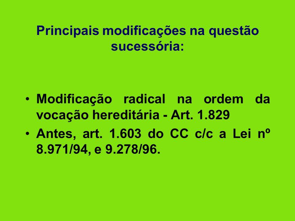 Principais modificações na questão sucessória: •Modificação radical na ordem da vocação hereditária - Art. 1.829 •Antes, art. 1.603 do CC c/c a Lei nº