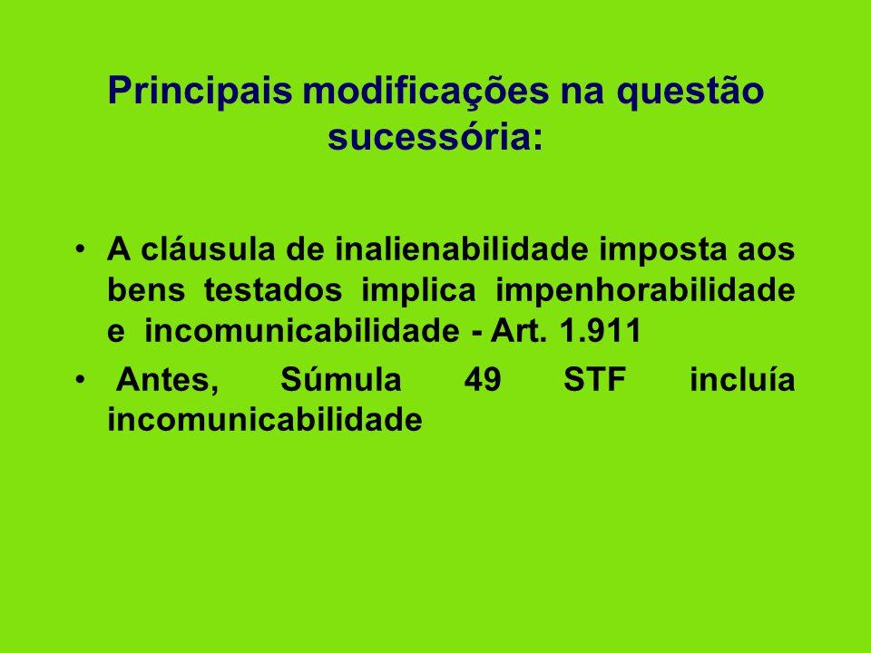 Principais modificações na questão sucessória: •A cláusula de inalienabilidade imposta aos bens testados implica impenhorabilidade e incomunicabilidad